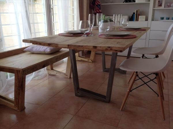 Built Pallet Industrial Dining Table Pallet Furniture DIY : industrial pallet dining table 1 from palletfurniturediy.com size 600 x 450 jpeg 31kB