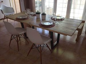 salvaged pallet industrial dining table