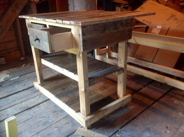 Rustic Pallet Kitchen Table With Drawers