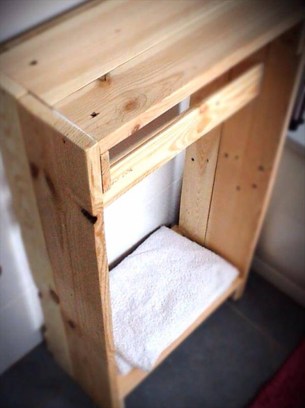 diy pallet bathroom towel cabinet