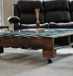 recycled pallet coffee table with casters