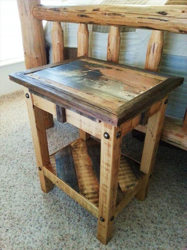 Upcycled pallet nightstand and end table pallet for End tables out of pallets