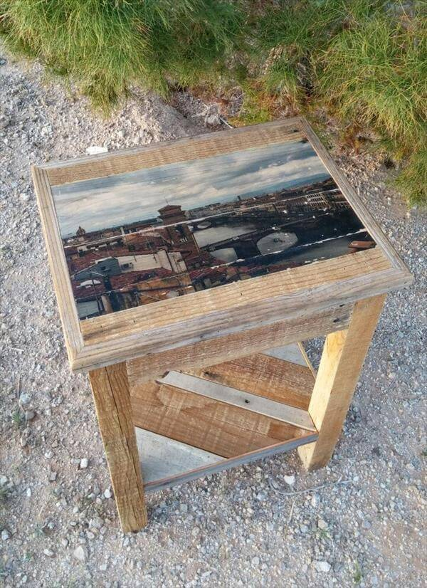 posts diy pallet end table nightstand pallet side table end table ...