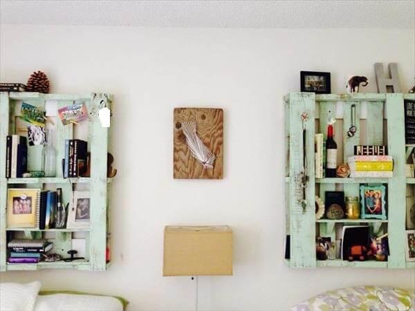pallet headboard and bookshelf