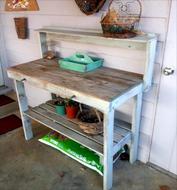 perfect diy wood pallet potting bench