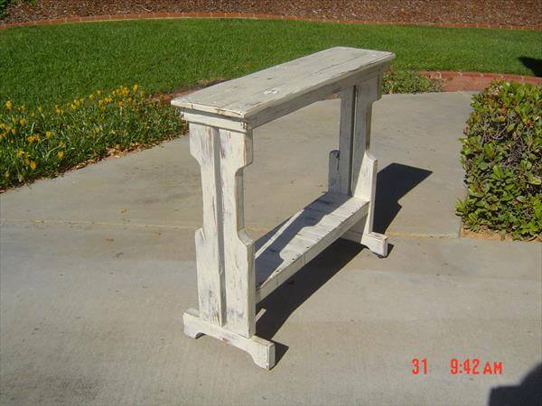recycled pallet sofa side table and entry way table