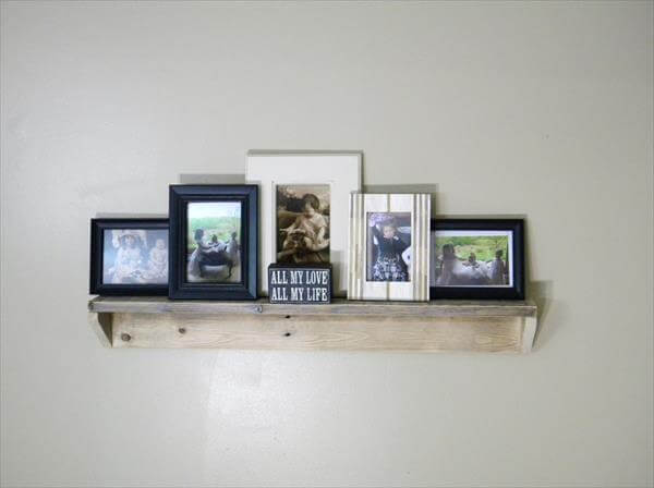reclaimed pallet wood floating picture shelf