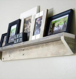 recycled pallet floating picture shelf