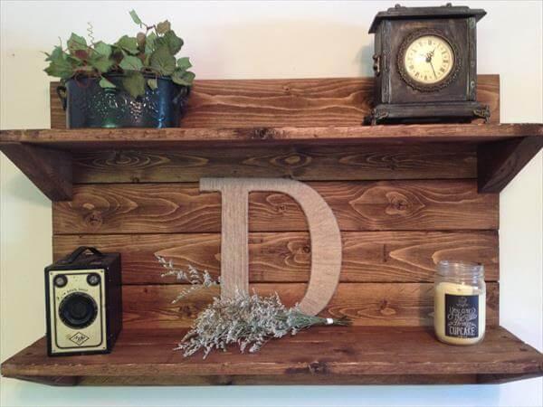 recycled pallet decorative shelf