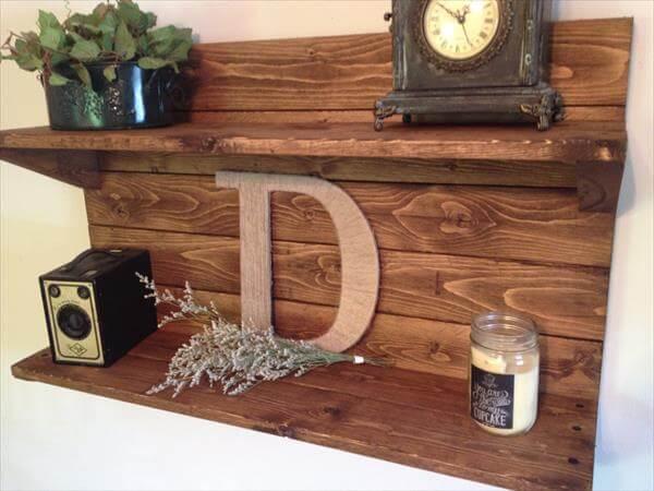 upcycled pallet decorative shelf
