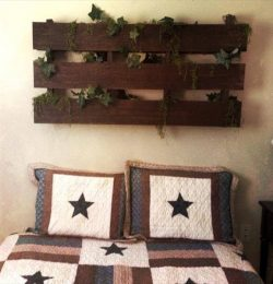 diy pallet headboard and wall art