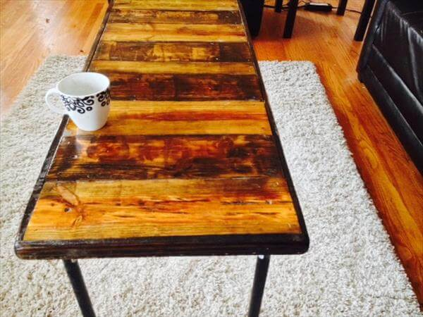 chic pallet coffee table with metal legs
