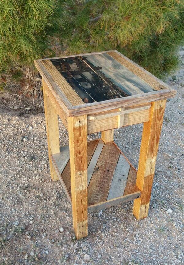 retrieved pallet nightstand and side table