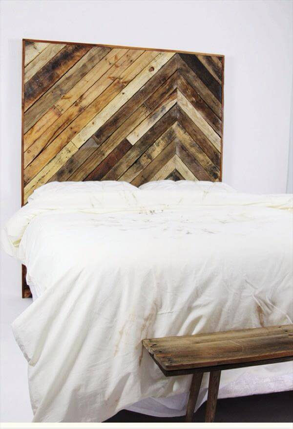 DIY Pallet Chevron King Sized Headboard Furniture