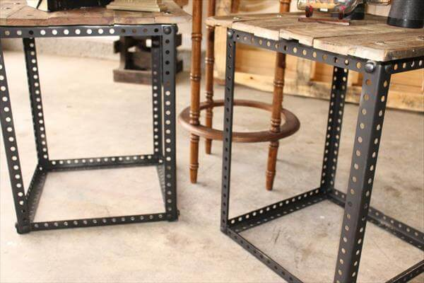 Metal Legs Pallet End Tables