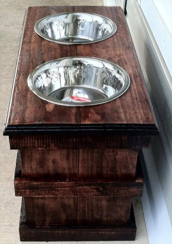 repurposed pallet dog bowl feeding stand