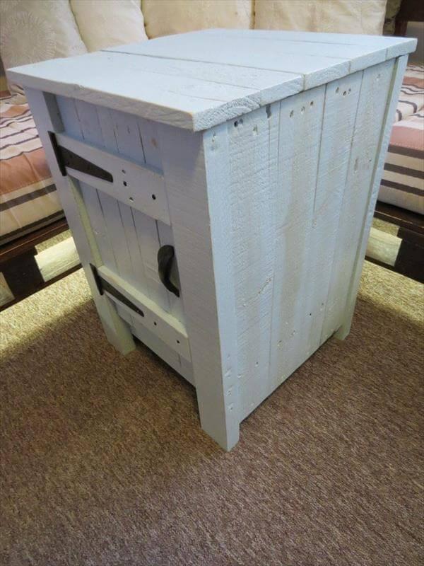 handcrafted pallet floor cabinet