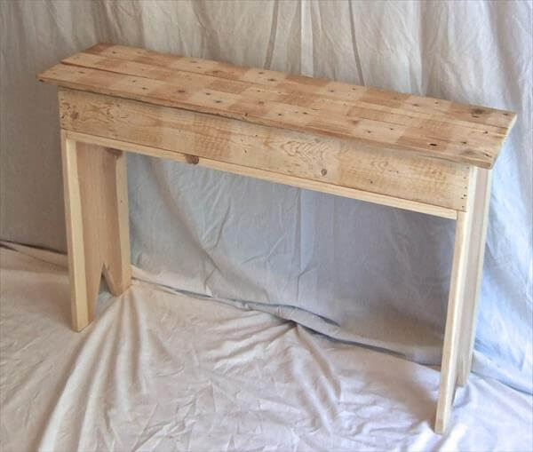 upcycled pallet hall way table