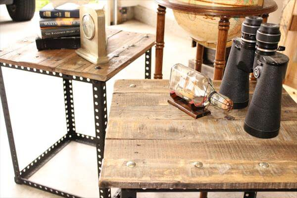 pallet side tables with metal legs