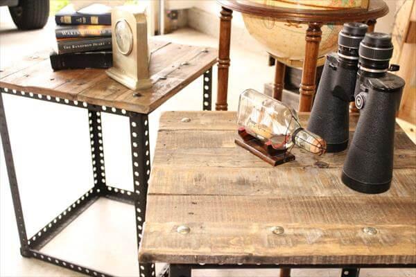 Metal Legs Pallet End Tables Pallet Furniture DIY