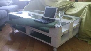 resurrected pallet coffee table with storage