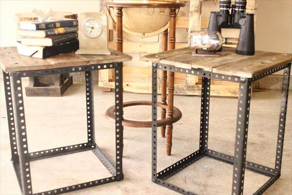 Metal Legs Pallet End Tables | Pallet Furniture DIY