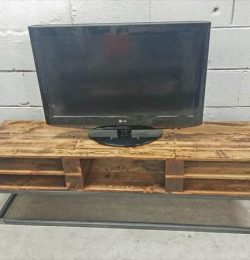 recycled pallet industrial TV stand