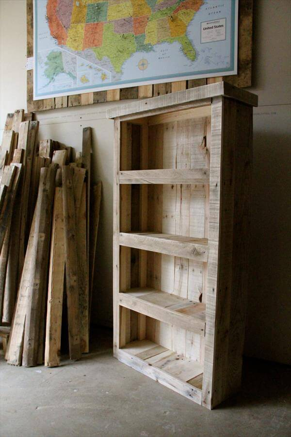 recycled pallet bookcase diy pallet furniture diy. Black Bedroom Furniture Sets. Home Design Ideas