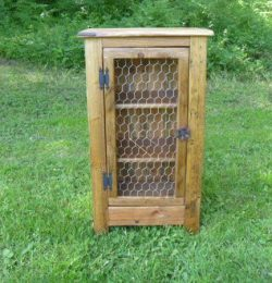 recycled pallet cabinet with chicken wire