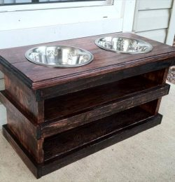 rustic pallet dog feeding stand