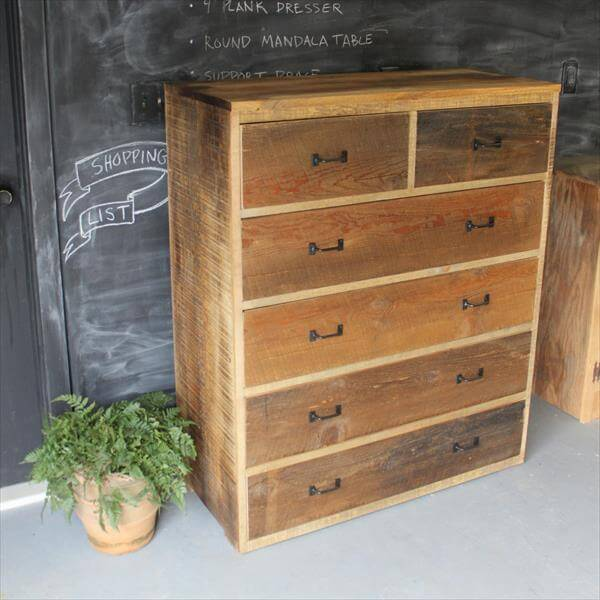 recycled pallet dresser with multiple drawers