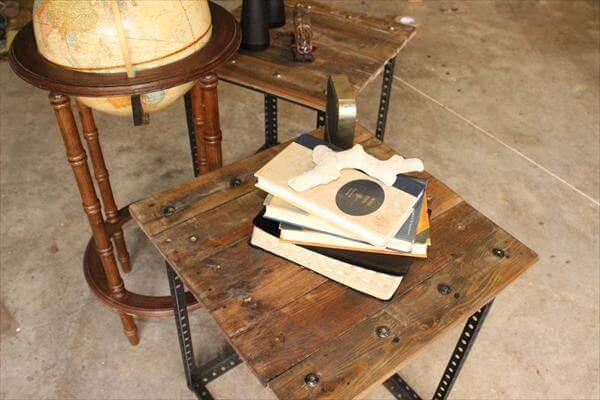 repurposed pallet industrial side table