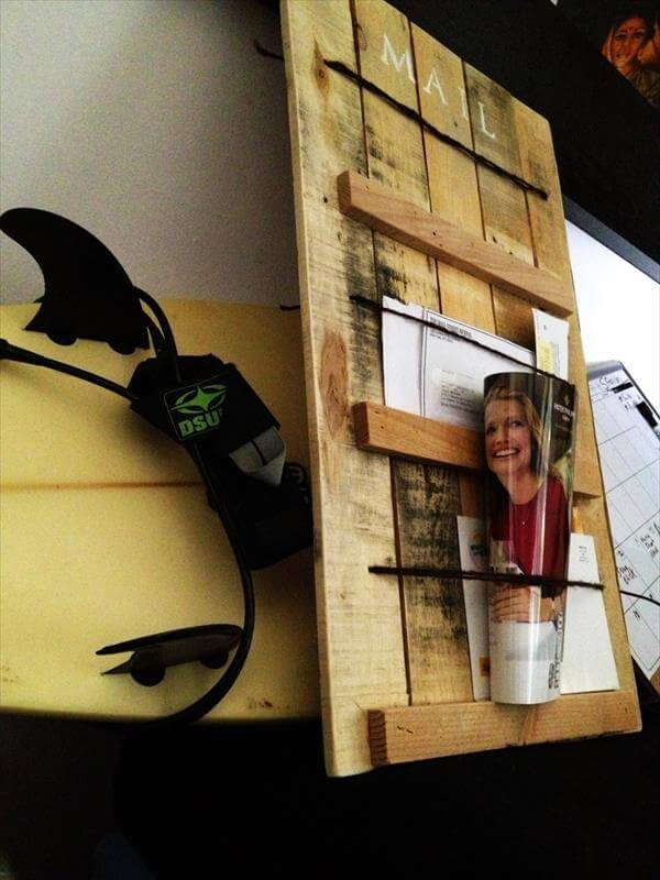 handcrafted pallet entry wall mail organizer