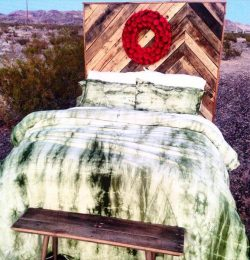 recycled pallet chevron headboard