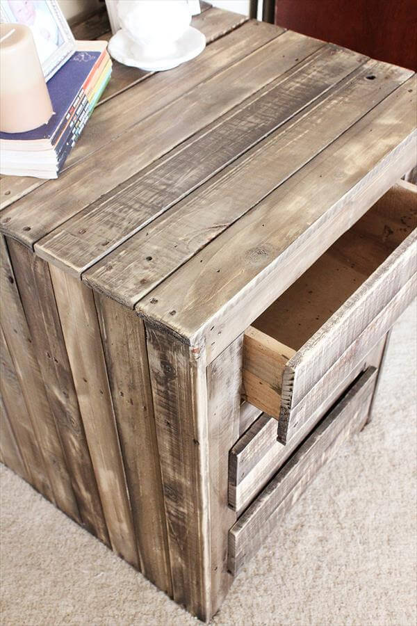 DIY Pallet Nightstand Side Table With Drawers