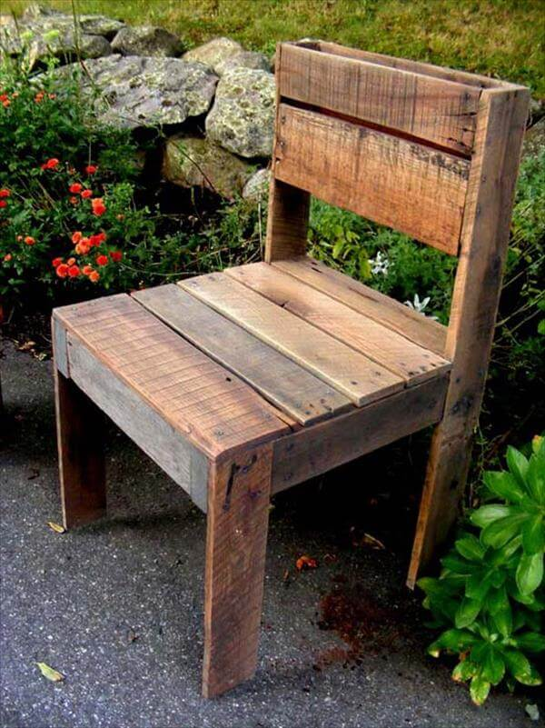 recycled pallet outdoor chair