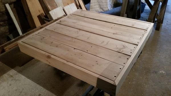 sanding of pallet coffee table