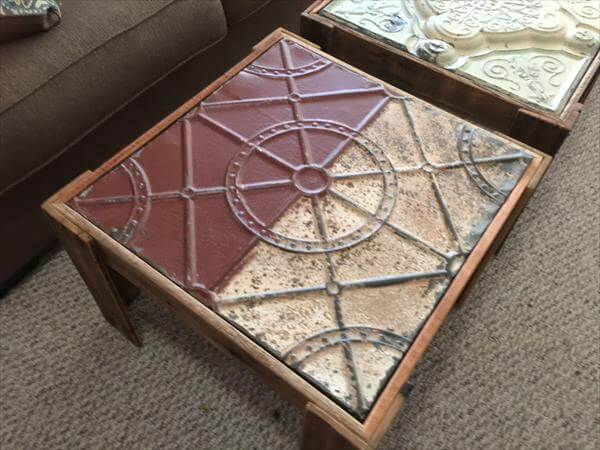 upcycled pallet tin panel side table