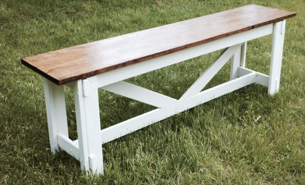 chic white repurposed pallet bench