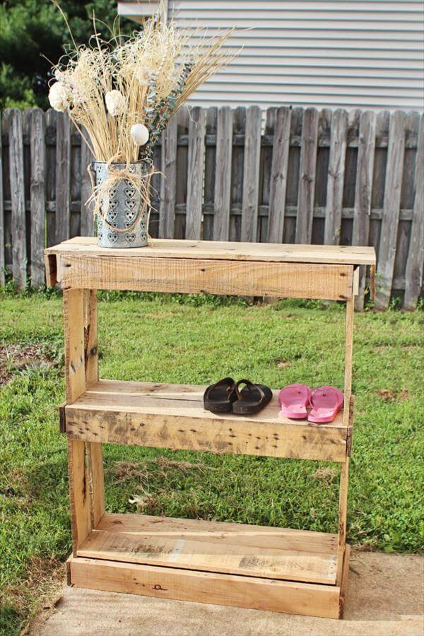 upcycled pallet kid's shoes rack