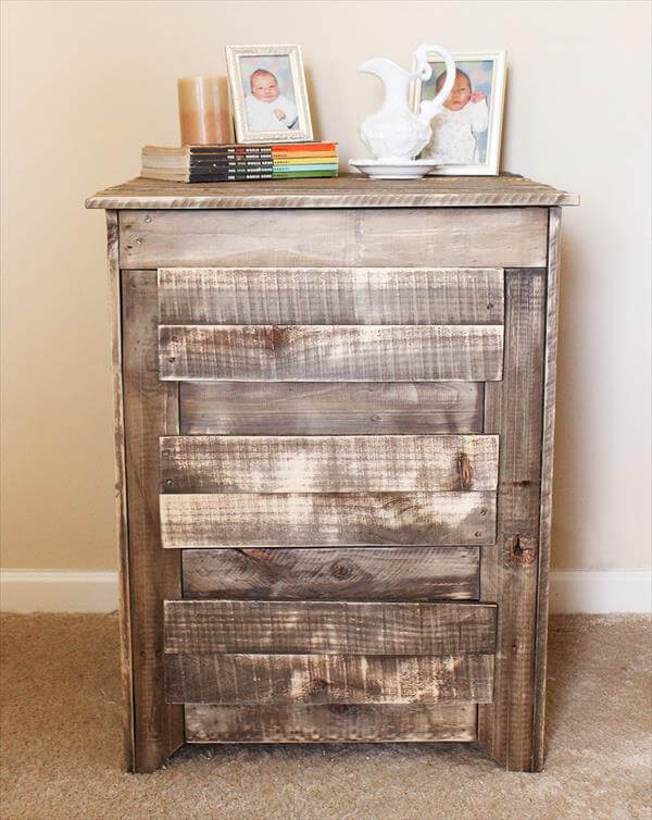 DIY Pallet Nightstand / Side Table with Drawers | Pallet Furniture DIY