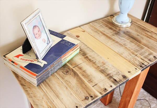 reused pallets hallway table
