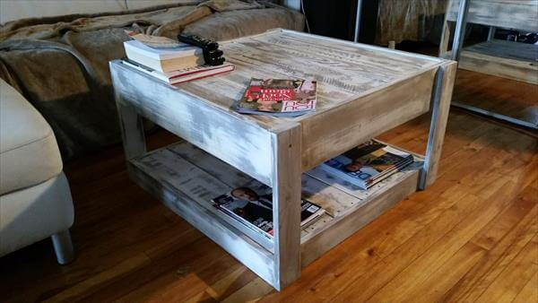 DIY Storage Able Pallet Coffee Table