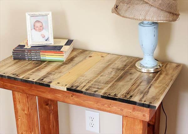 Tremendous Diy Pallet Wood Entryway Desk Side Table Pallet Furniture Diy Largest Home Design Picture Inspirations Pitcheantrous