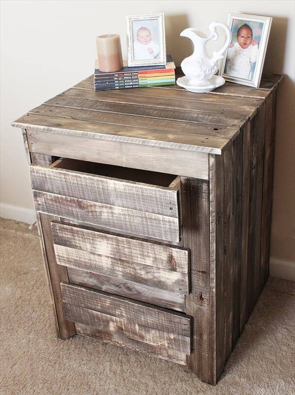 diy pallet nightstand side table with drawers pallet
