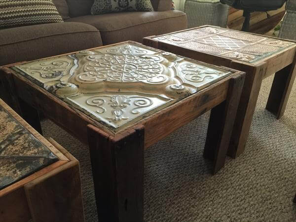 reused pallet in panel end table