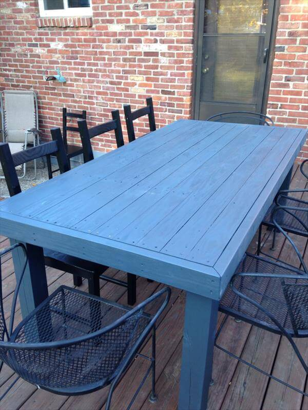 aqua pallet patio table