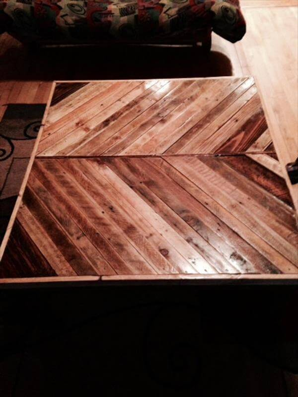 oversize pallet chevron coffee table