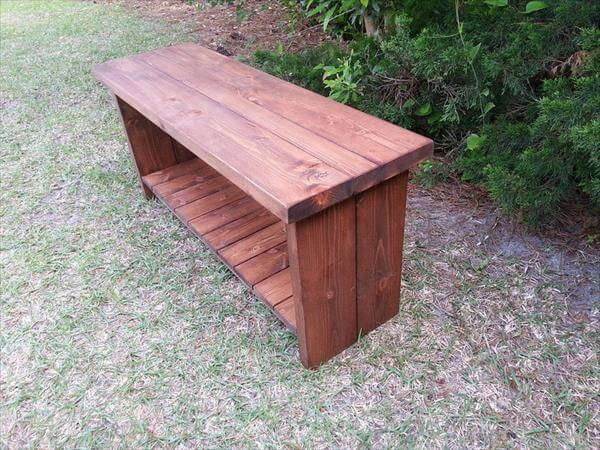 handmade pallet bench with shoes storage shelf