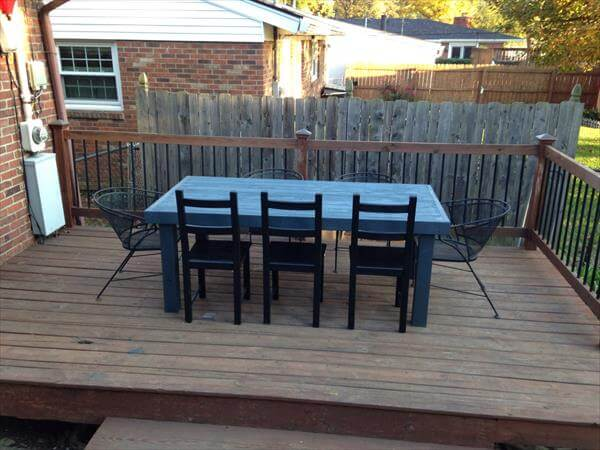 chic aqua pallet patio dining table